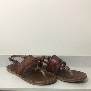 Brown Geometric Rustic Cut Out Sandals